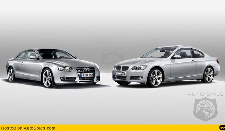 Side by side photo: New Audi A5 Coupe and BMW 3-series coupe separated at birth?