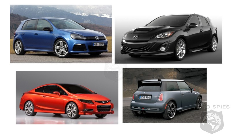car wars vw gti vs civic si vs mazdaspeed3 vs mini. Black Bedroom Furniture Sets. Home Design Ideas