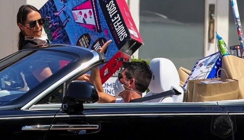 BOOBS In Toyland? Simon Cowell And Lauren Silverman Play Amazon Delivery Couple In Rolls-Royce Convertible