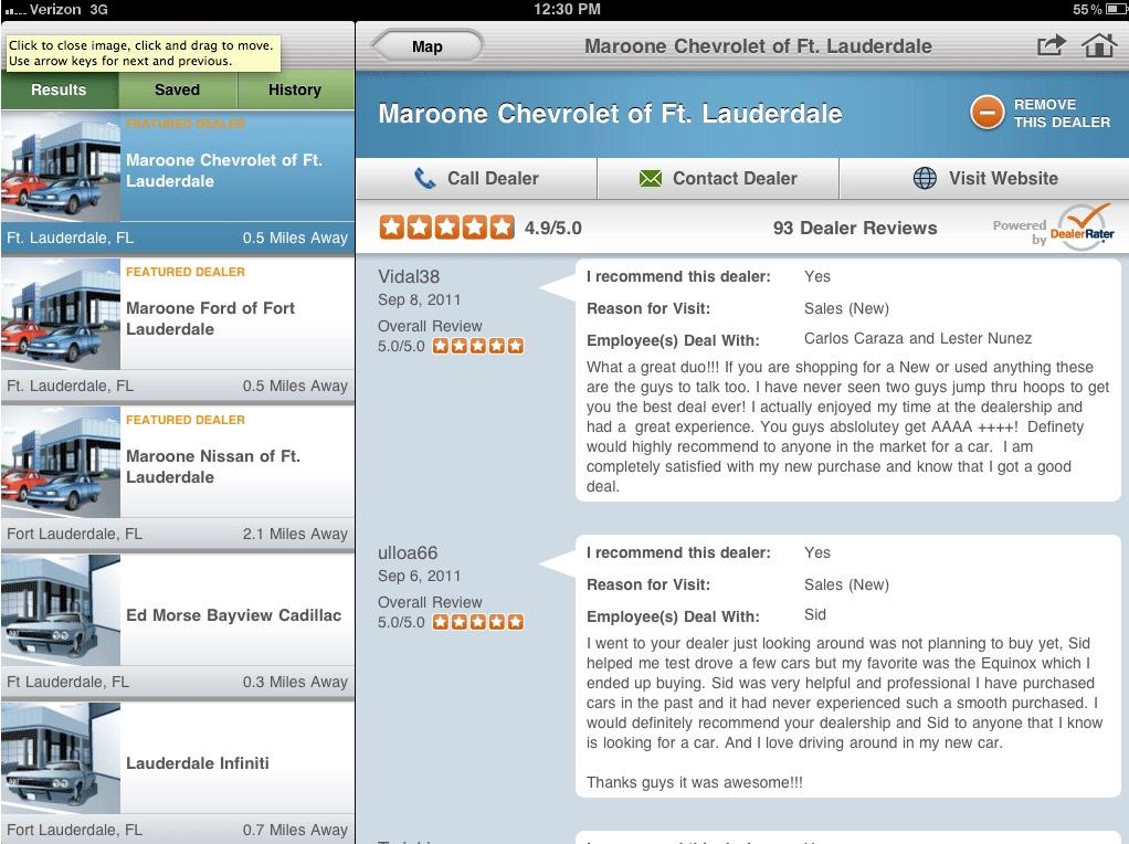 Car Dealer Reviews >> Dealerrater Joins Forces With 1 Ipad Car Shopping App Carzen