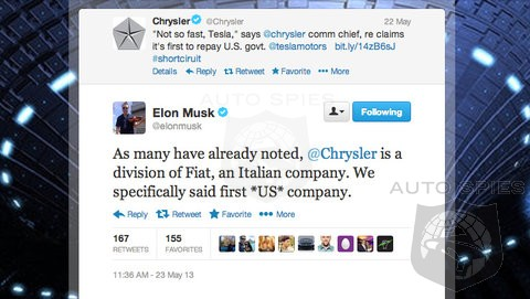 Twitter Spat Escalates After Telsa Claims Chrysler Is No Longer An American Company And Never Fully Paid Debt