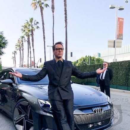 Tony Stark Rolls To Avengers End Game Premiere In A New E-Tron GT Sedan