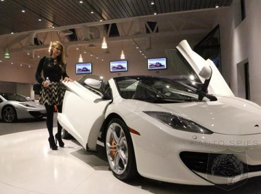 Paris Hilton Picks Up A New McLaren 12C Spider - Paparazzi Can't Wait For Shots Getting In And Out Of This One