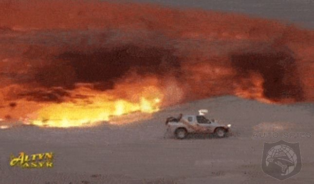 Turkmenistan President Demonstrates His Manliness By Doing Donuts Around A Flaming Crater