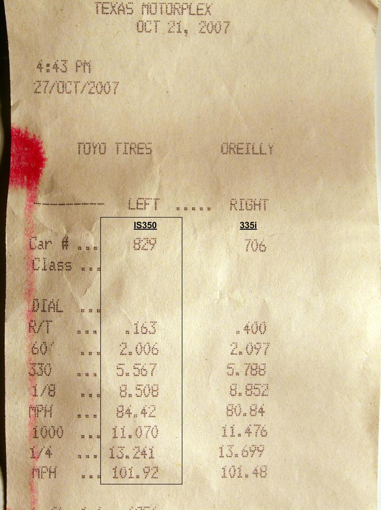 2008 is350 quarter mile