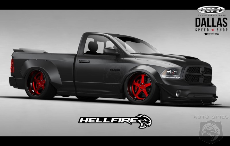 sema this is what happens when you take a ram 1500 and slam an srt hellcat v8 in it 775 hp. Black Bedroom Furniture Sets. Home Design Ideas