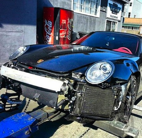 Chris Brown Gets Boxed In By The Paparazzi And Wrecks A Porsche 911 Turbo S Cabriolet
