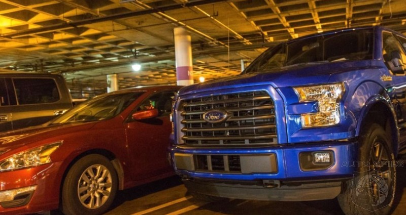 LAAUTOSHOW SPIED On The STREET So How s The 2015 Ford F 150 Look Among Other Vehicles