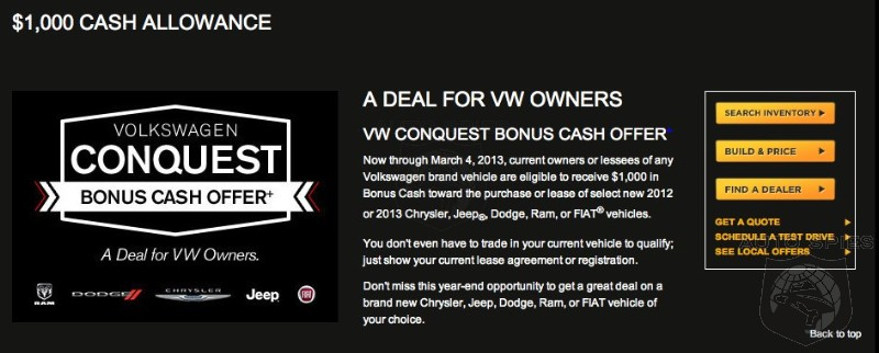 WHY Is Chrysler Trying To Take Down Volkswagen? $1,000 Conquest Offer Through March
