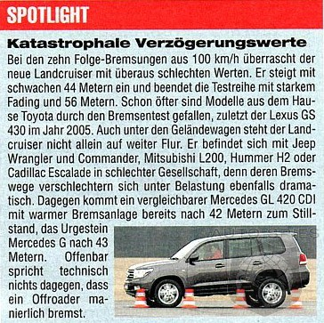 Toyota Landcruiser 4.5 V8 Diesel miserably fails Auto Motor und Sport braking test