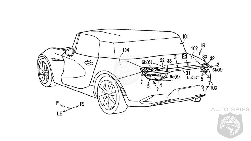 Mazda patents new type of active rear spoiler with US Patent Office